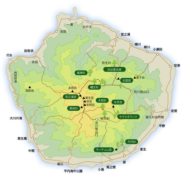 屋久島トレッキングモデルコース・距離・時間・地図 目的地やレベルなど自分に合ったコースがきっと見つかります~♪